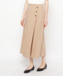 AIRPAPEL/【ハンドウォッシュ】麻混ラップボタンスカート/503328729