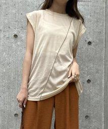 UNRELISH/配色ラインシアーTシャツ+キャミセット/503281237