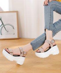 Shoes in Closet/☆超軽量☆厚底プラットフォーム!!ナイロンベルクロスポーツサンダル☆ゴールドアクセント《約9.0cmソール※傾斜は約2cm》/503327844