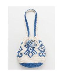 CAYHANE/【欧州航路】ヨーロピアン風コットンニット巾着ショルダーバッグ ブルー/503338065
