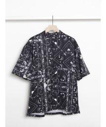 COTORICA./Tatooパターンバンドカラー半袖シャツ/503339183