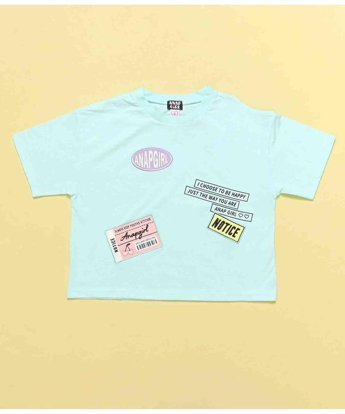 【50%OFF】 アナップガール チケット付肩開きTシャツ キッズ サックスブルー M 【ANAP GiRL】 【セール開催中】