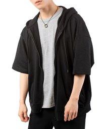 TopIsm/ワイドシルエットミニ裏毛半袖ジップアップパーカー/503345298