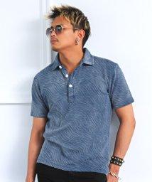 LUXSTYLE/ふくれジャガードホリゾンタル襟ポロシャツ/ポロシャツ メンズ ホリゾンタル 半袖/503345549