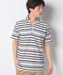 STYLEBLOCK/ボーダー1ポイント刺繍スキッパー半袖ポロシャツ/503303920