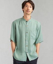 green label relaxing/SC ヘンプ ストライプ ドビー バンドカラー 半袖 シャツ/503331841