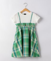 green label relaxing (Kids)/◆【キッズ】ワッフル×マドラスチェックワンピース ケリー/503331851