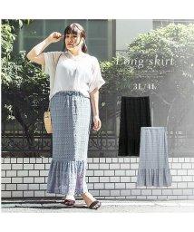 clette/透かし編み裾切替ロングスカート/503347432