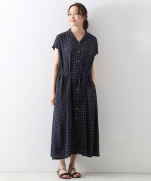 MELROSE Claire/【WEB限定】イージーケアレーヨン小紋プリント開襟ワンピース/503344953