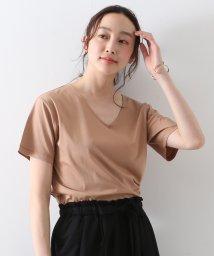 MELROSE Claire/シルケットスムースVネックコンパクトTシャツ/503344958