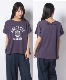 Samansa Mos2/【SM2】後ろりぼんロゴプリントTシャツ/503345433