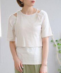 ANDJ/アシンメトリー異素材レイヤードTシャツ/503356164