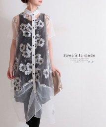 Sawa a la mode/スタンドカラーの花柄シアーワンピース/503356606