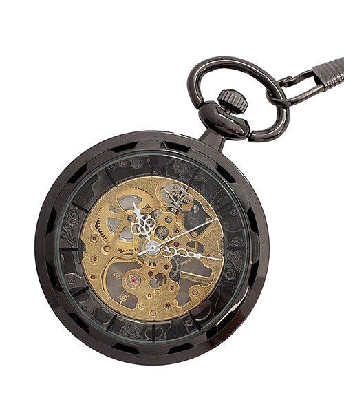 エスピー 懐中時計 PWA001−BLK ポケットウォッチ 手巻き 機械式時計 メンズ時計 メンズ ブラック系 - 【SP】