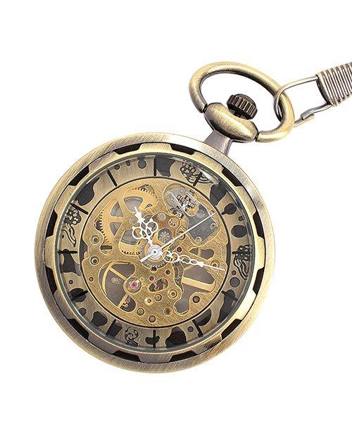 エスピー 懐中時計 PWA001−BLK ポケットウォッチ 手巻き 機械式時計 メンズ時計 メンズ ゴールド系 - 【SP】