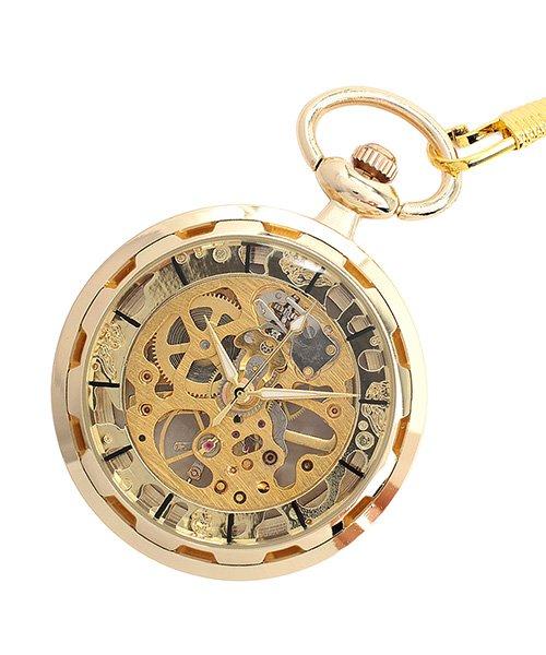 エスピー 懐中時計 PWA001−BLK ポケットウォッチ 手巻き 機械式時計 メンズ時計 メンズ ゴールド系2 - 【SP】