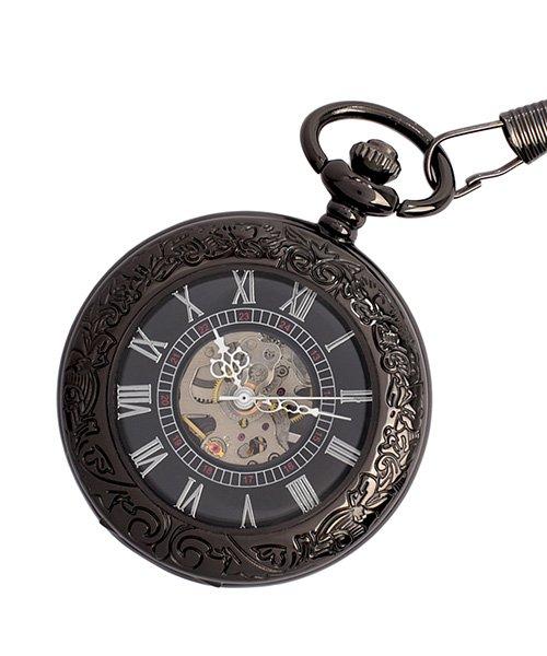 エスピー 懐中時計 PWA002−BLK ポケットウォッチ 手巻き 機械式時計 メンズ時計 メンズ ブラック系 - 【SP】