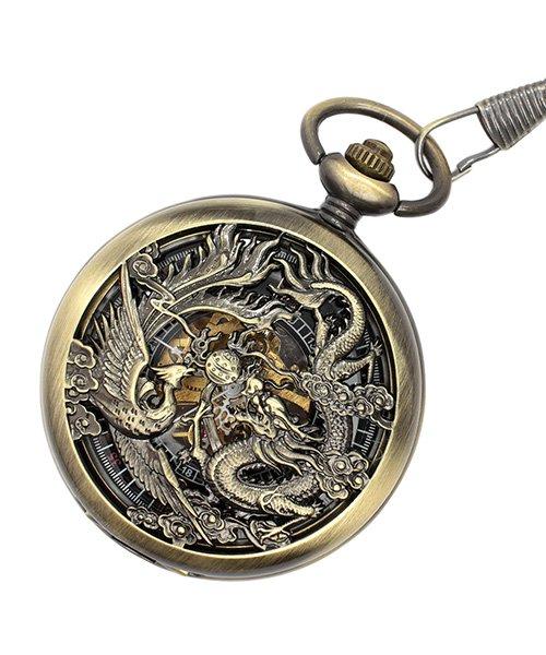 エスピー 懐中時計 PWA003−BLK ポケットウォッチ 手巻き 機械式時計 メンズ時計 メンズ ゴールド系 - 【SP】