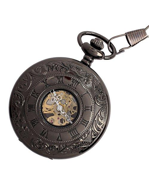 エスピー 懐中時計 PWA004 BLK ポケットウォッチ 手巻き 機械式時計 メンズ時計 メンズ ブラック系 - 【SP】