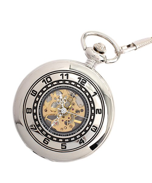 エスピー 懐中時計 PWA006−SLV ポケットウォッチ 手巻き 機械式時計 メンズ時計 メンズ シルバー系 - 【SP】