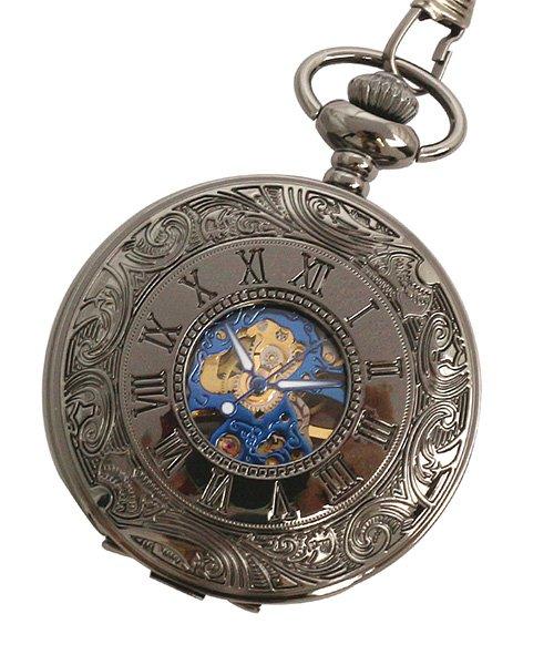 エスピー 懐中時計 PWA007−BKBL ポケットウォッチ 手巻き 機械式時計 メンズ時計 メンズ ブラック系 - 【SP】