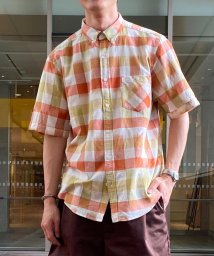 GLOSTER/イカットギンガム ショートスリーブ ボタンダウンシャツ/503350217