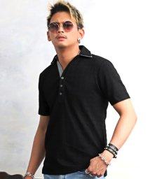 LUXSTYLE/ふくれ千鳥ジャガード2枚襟ポロシャツ/ポロシャツ メンズ スキッパー 半袖  BITTER ビター系/503358049