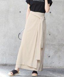 HAPPY EXP/雰囲気のある大人の着こなし。リネン混ラップ風リボンスカート/スカート ラップスカート 麻 ロングスカート レディース ボトムスロング丈大きいサイズ/503361096