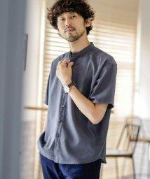 nano・universe/《WEB限定》エントリーワイドバンドカラーシャツ 半袖/503200478