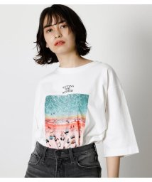 AZUL by moussy/PINK BEACH PHOTO TEE/503361630