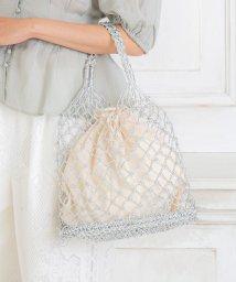 BASE/メタリック編み巾着付きカゴバッグ/503351799