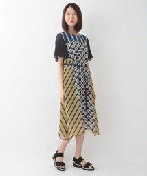 HIROKO BIS/【洗濯機で洗える】サークルマルチストライププリントドレス/503362048