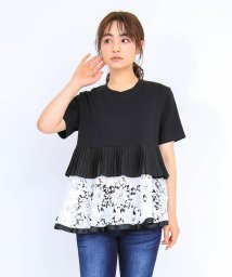 axes femme/異素材切替Tシャツ/503360136