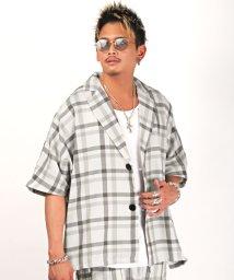 LUXSTYLE/チェック柄半袖テーラードジャケット/テーラード ジャケット メンズ 半袖 チェック柄 ビッグシルエット 春夏/503371612