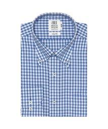 BRICKHOUSE/スリム 長袖 ワイシャツ 形態安定 ボタンダウン 白×ブルーチェック/502991461