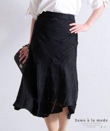 Sawa a la mode/透かしチェック柄のミモレ丈スカート/503374083