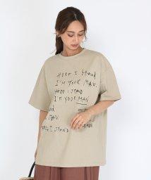 SCOTCLUB/SCOTCLUB(スコットクラブ) 【手洗い可】手描き風レタープリントオーバーTシャツ/503374092