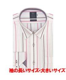 BRICKHOUSE/長袖 ワイシャツ 形態安定 ドゥエボットーニ スナップダウン 白×ピンク/503374205