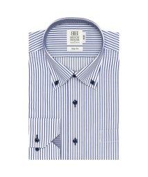 BRICKHOUSE/スリム 長袖 ワイシャツ 形態安定 ドゥエボットーニボタンダウン 白×ネイビー/503374208
