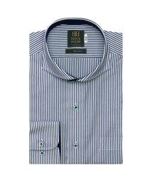 BRICKHOUSE/ワイシャツ 長袖 形態安定 ホリゾンタル ワイド 白×ネイビーストライプ 標準体/503374209