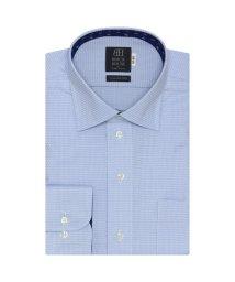 BRICKHOUSE/標準体 長袖 ワイシャツ 形態安定 ワイド サックス×織柄/503374211
