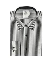 BRICKHOUSE/スリム 長袖 ワイシャツ 形態安定 ボタンダウン 白×黒、グレーストライプ/503374215