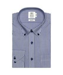 BRICKHOUSE/スリム 長袖 ワイシャツ 形態安定 ドゥエボットーニボタンダウン 白×ネイビー/503374216