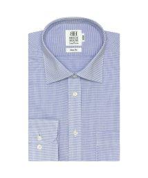 BRICKHOUSE/スリム 長袖 ワイシャツ 形態安定 ワイド 白×ブルー刺子調柄/503374217