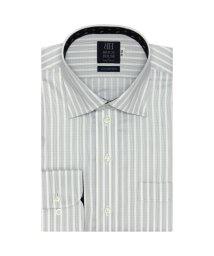 BRICKHOUSE/ワイシャツ 長袖 形態安定 ワイド 白×グレーストライプ 標準体/503374219