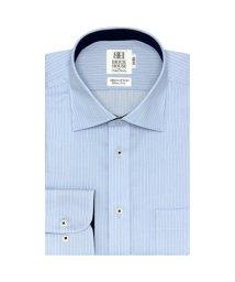 BRICKHOUSE/ワイシャツ 長袖 形態安定 ワイド ブルー×白ストライプ スリム/503374220