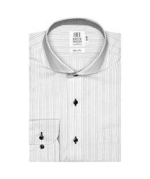 BRICKHOUSE/ワイシャツ 長袖 形態安定 ホリゾンタル ワイド 白×黒ストライプ スリム/503374221