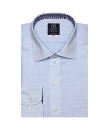 BRICKHOUSE/ワイシャツ 長袖 形態安定 ワイド 白×サックス刺子調柄 標準体/503374224