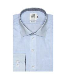 BRICKHOUSE/ワイシャツ 長袖 形態安定 ワイド サックス×ストライプ織柄 スリム/503374226
