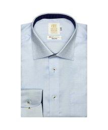 BRICKHOUSE/ワイシャツ 長袖 形態安定 ワイド サックス×バスケットチェック織柄 スリム/503374227